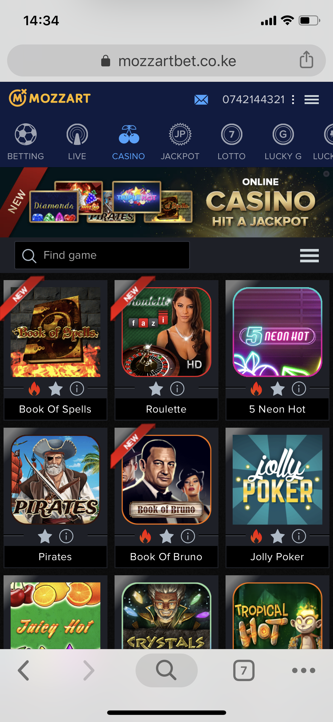 Mozzart bet Casino games list